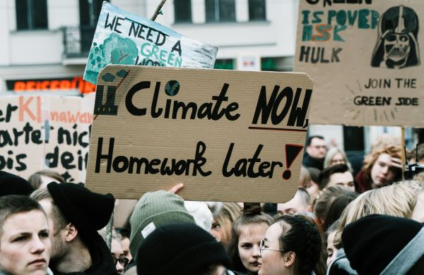 A group of young people protest about climate change